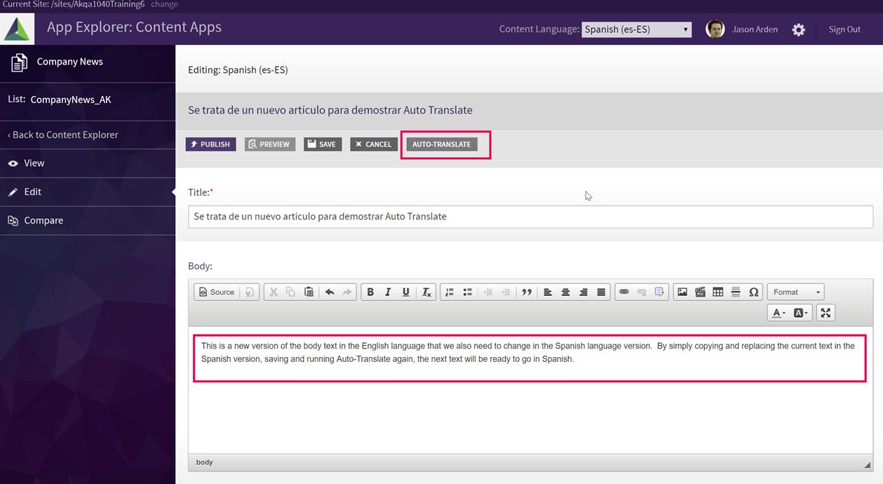 Akumina Auto-Translate Digital Workplace